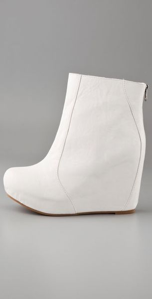 Jeffrey Campbell Pixie Zip Wedge Booties In White Lyst