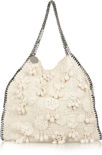 Stella Mccartney Falabella Large Crochet Bag in Beige (cream)