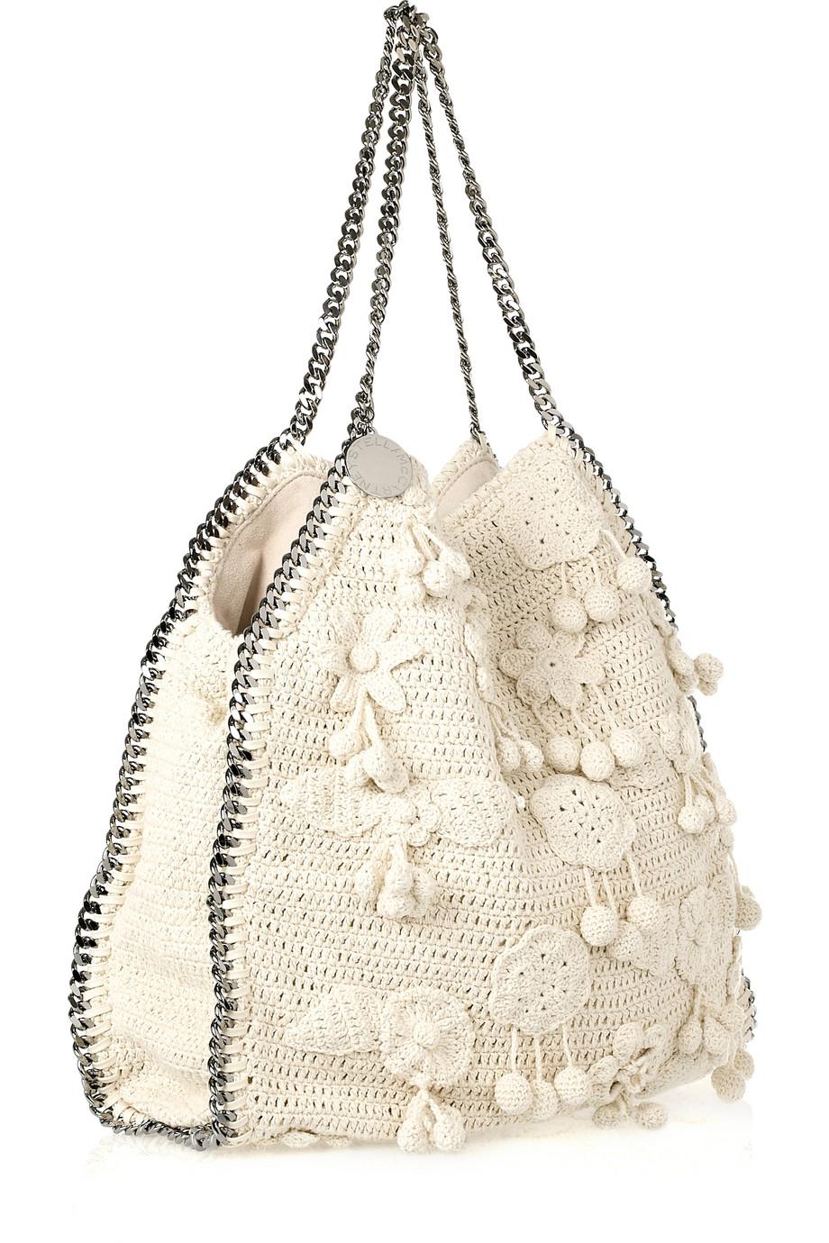lyst stella mccartney falabella large crochet bag in natural. Black Bedroom Furniture Sets. Home Design Ideas