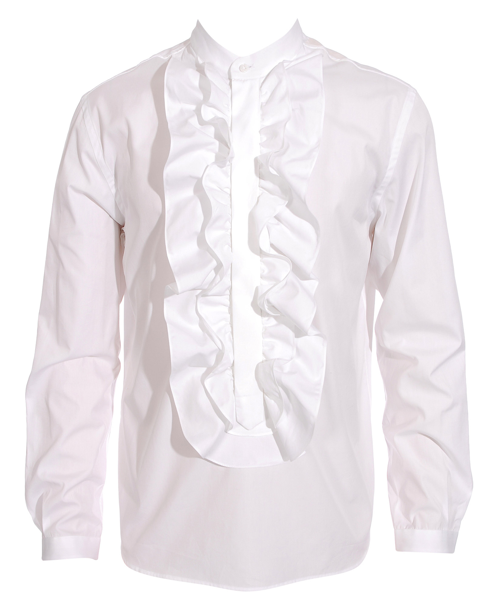 Umit Benan Ruffle Front Shirt In White For Men Lyst