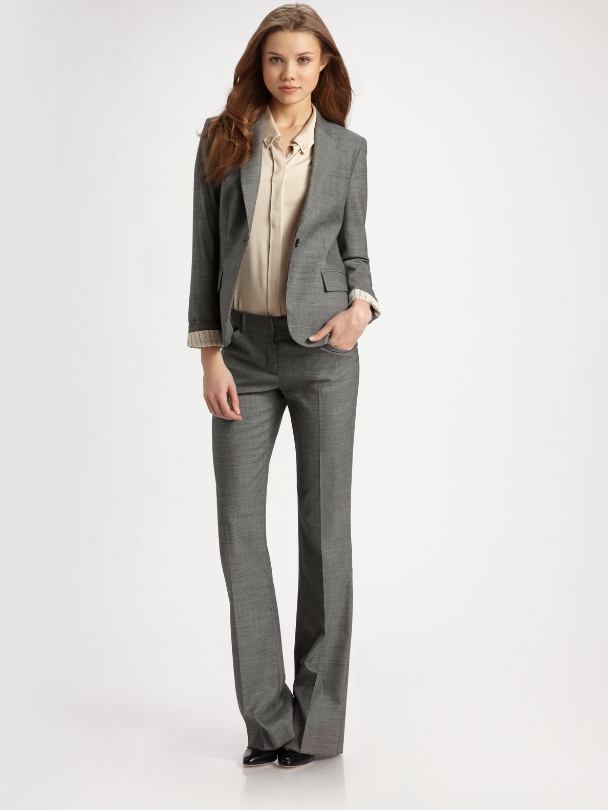 Theory Max Stretch Wool Suit Pants in Gray | Lyst