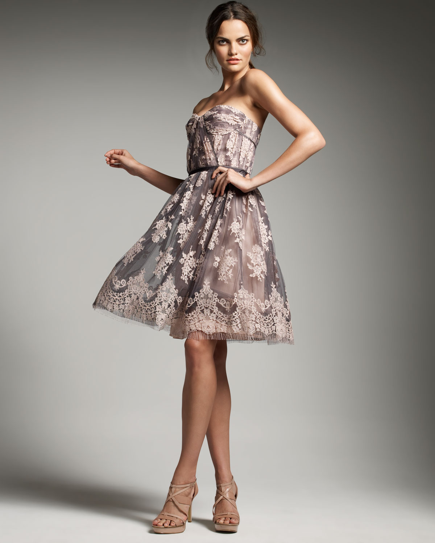 Carolina Herrera Lace Corset Dress In Pink Lyst