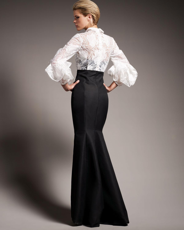 Lyst carolina herrera origami sleeve shirted gown in white gallery jeuxipadfo Gallery