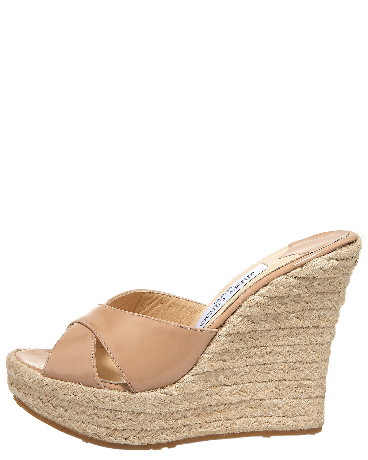 e5cc264381f Lyst - Jimmy Choo Phyllis Patent Leather Wedge Espadrille Slides in ...
