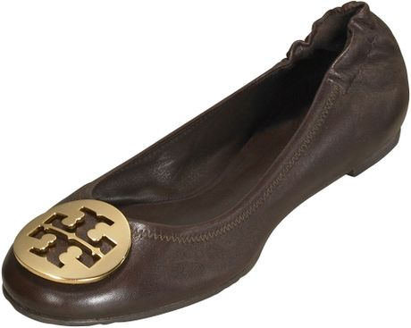 Tory Burch Reva Leather Ballet Flat in Black
