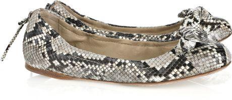 Miu Miu Bow-embellished Python Ballerina Flats in Gray