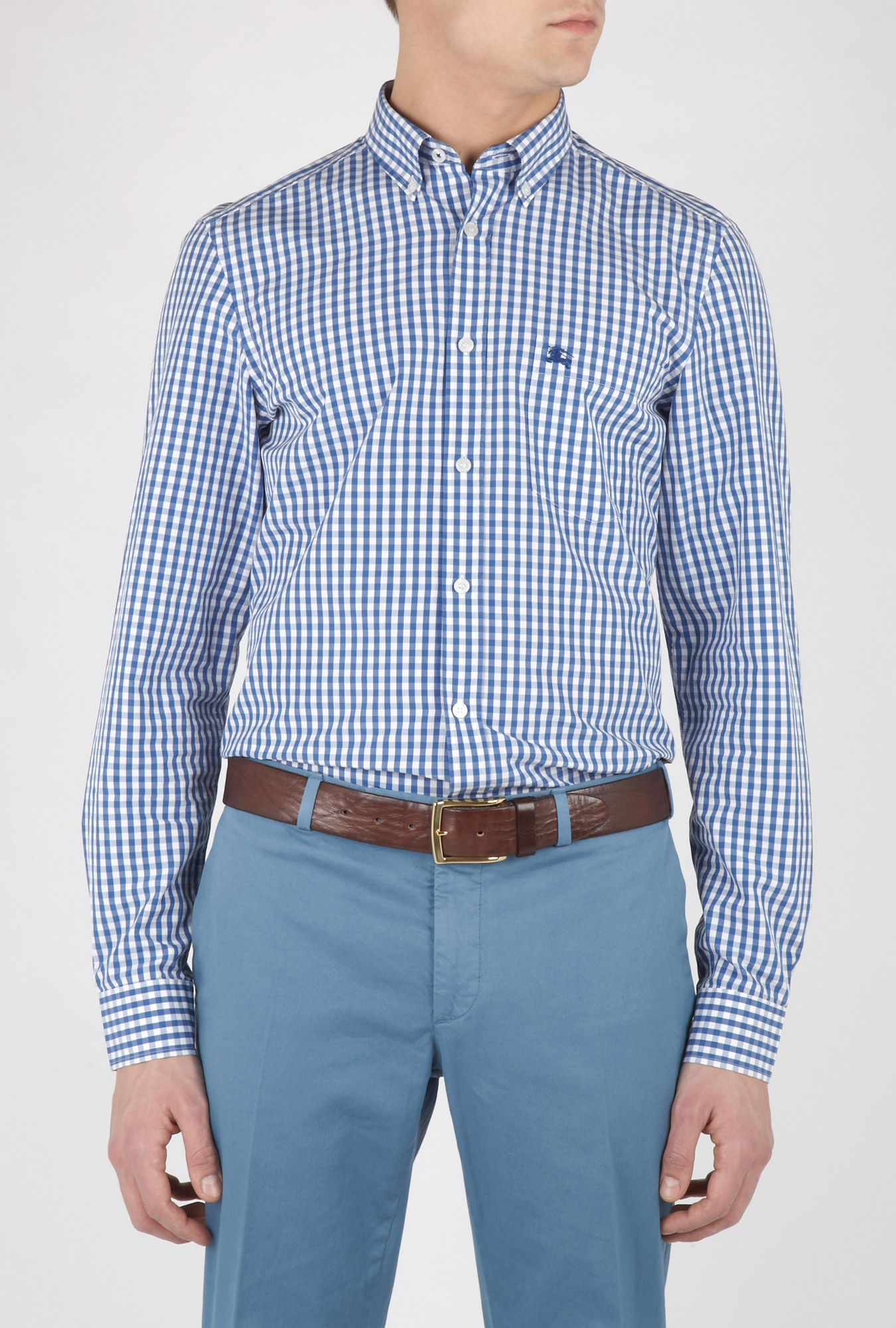 Burberry blue button down gingham shirt in blue for men lyst for Blue gingham button down shirt