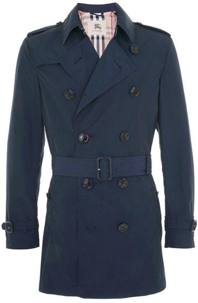 Burberry Navy Packable Trench Coat In Blue For Men Navy