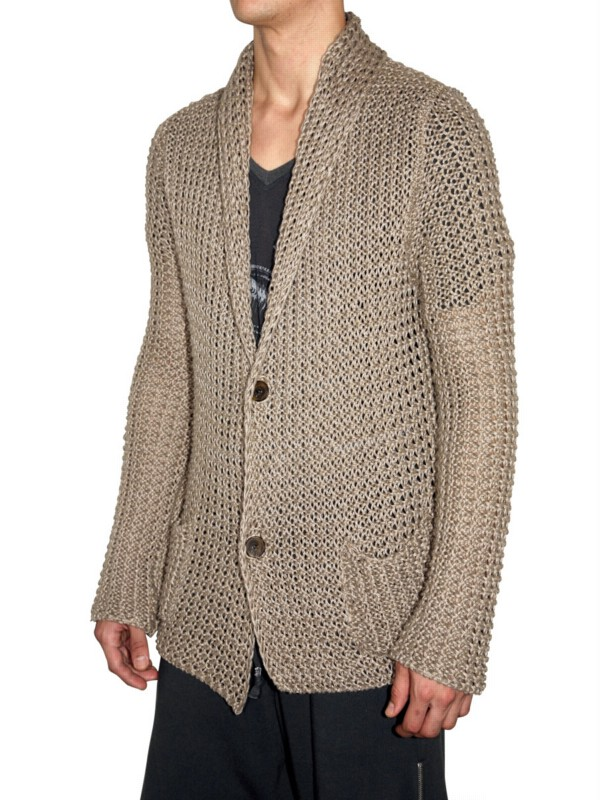 Laneus Chunky Knit Cardigan Sweater in Natural for Men | Lyst