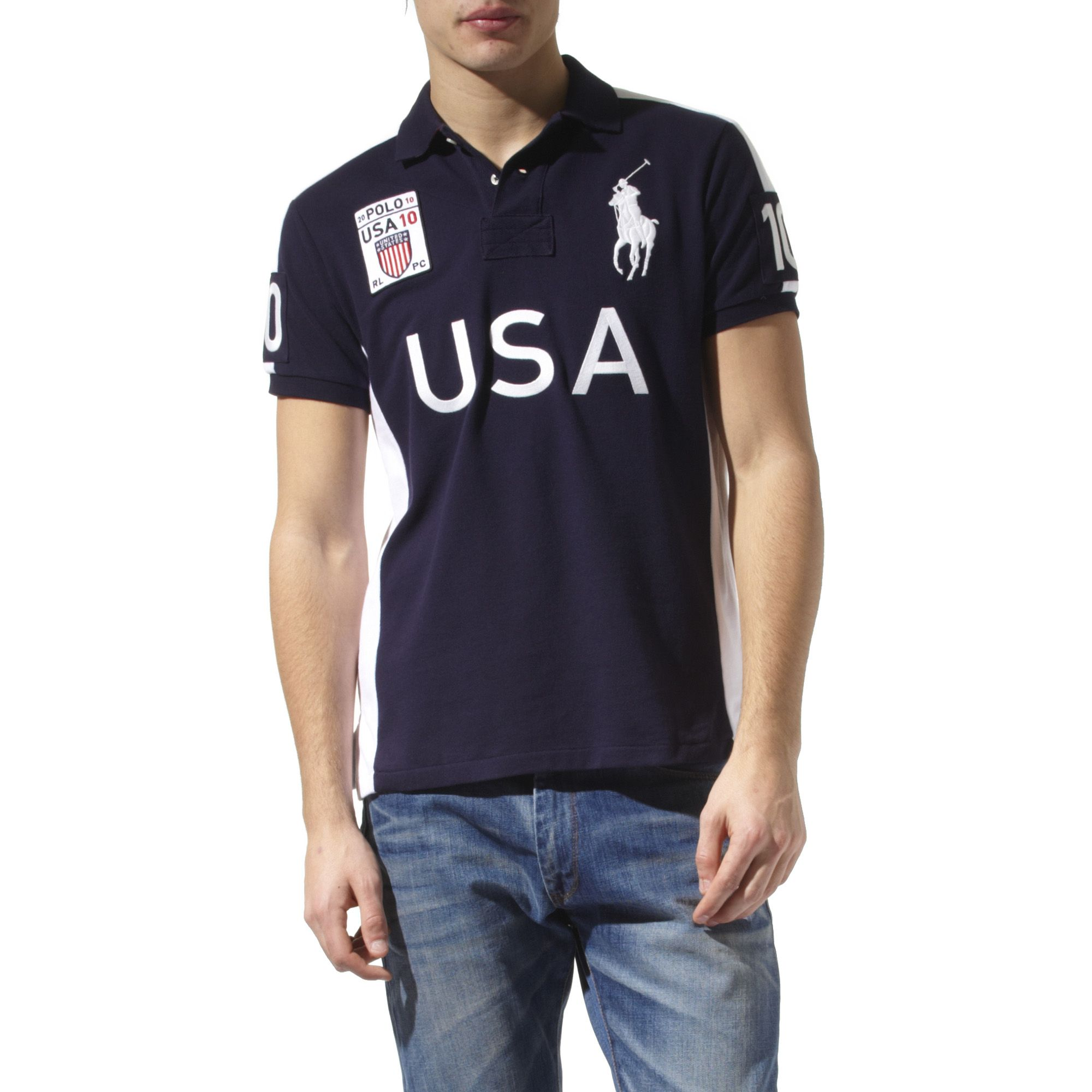 Ralph lauren Custom\\u2013fit Country Big Pony Polo Shirt in Blue for Men (navy