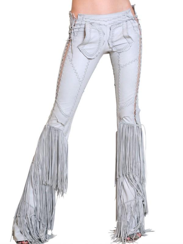Lyst - Roberto Cavalli Fringed Leatehr Trousers in Blue 57f7b396c