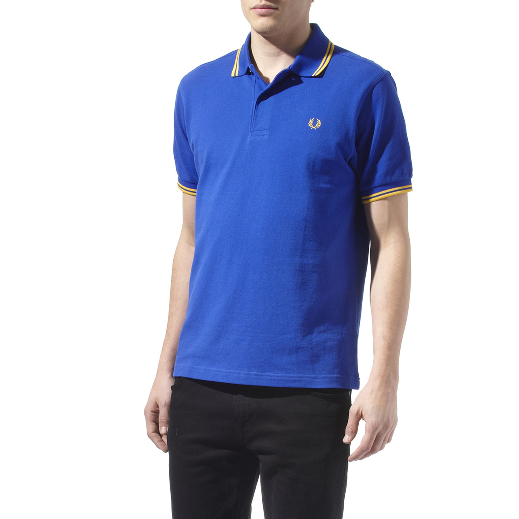 fred perry twin tipped polo shirt in blue for men lyst. Black Bedroom Furniture Sets. Home Design Ideas