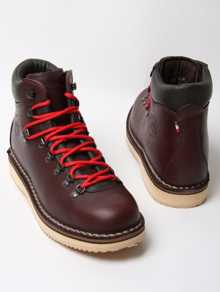 diemme grain leather vibram sole boot in brown for