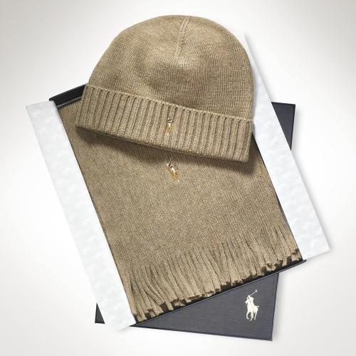 d7f65c156 ... usa polo ralph lauren merino wool hat scarf set in brown for men lyst  92f91 91480 ...