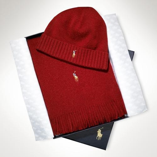 925848ebf ... shop polo ralph lauren merino wool hat scarf set in red for men lyst  0b9d7 596fd