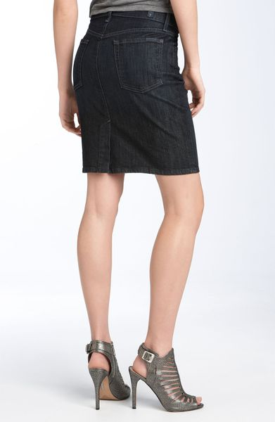 7 for all mankind stretch denim pencil skirt in blue