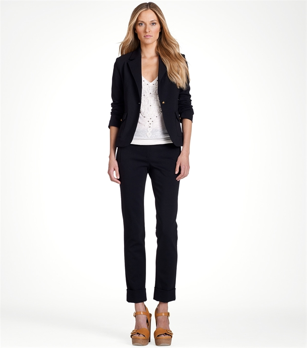 Lyst tory burch abigail jacket in black for Tory burch fashion island
