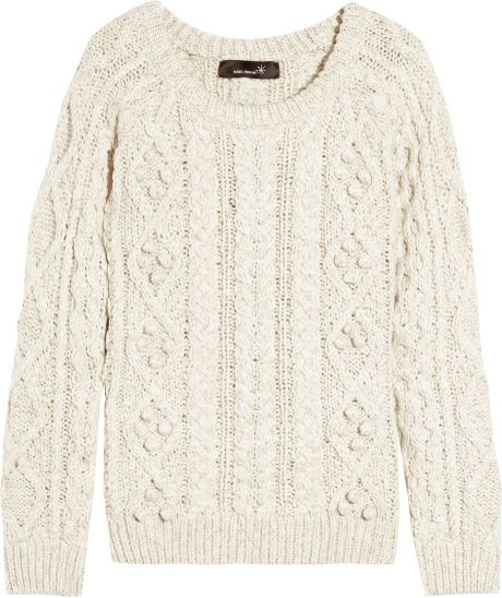 Isabel Marant Cable-knit Cotton and Linen-blend Sweater in White (oatmeal) ...