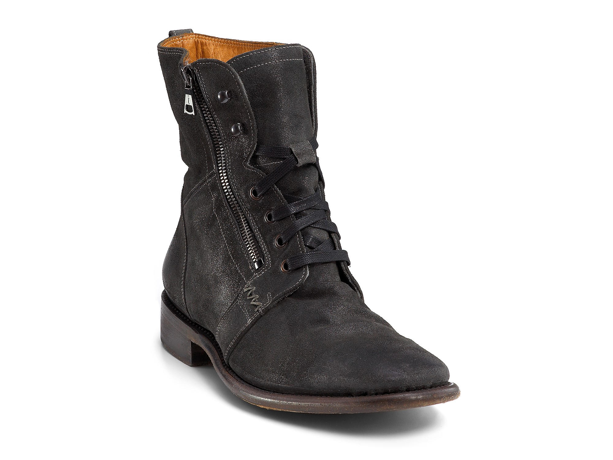varvatos ago suede side zip boots in blue for