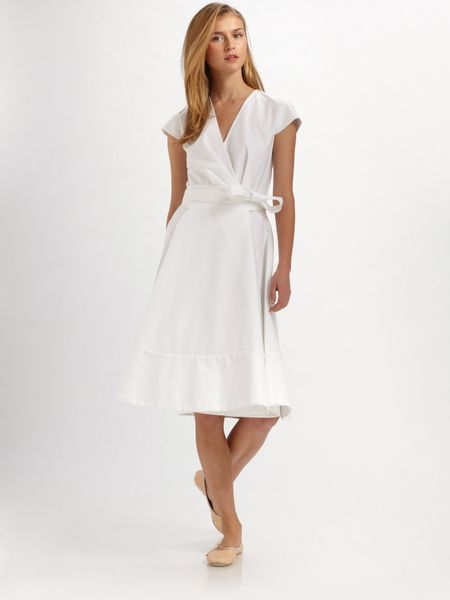 Chloé Cotton Cap Sleeve Wrap Dress in White