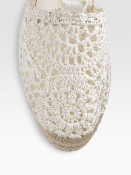 Ralph Lauren Collection Crocheted Ankle Tie Espadrilles In