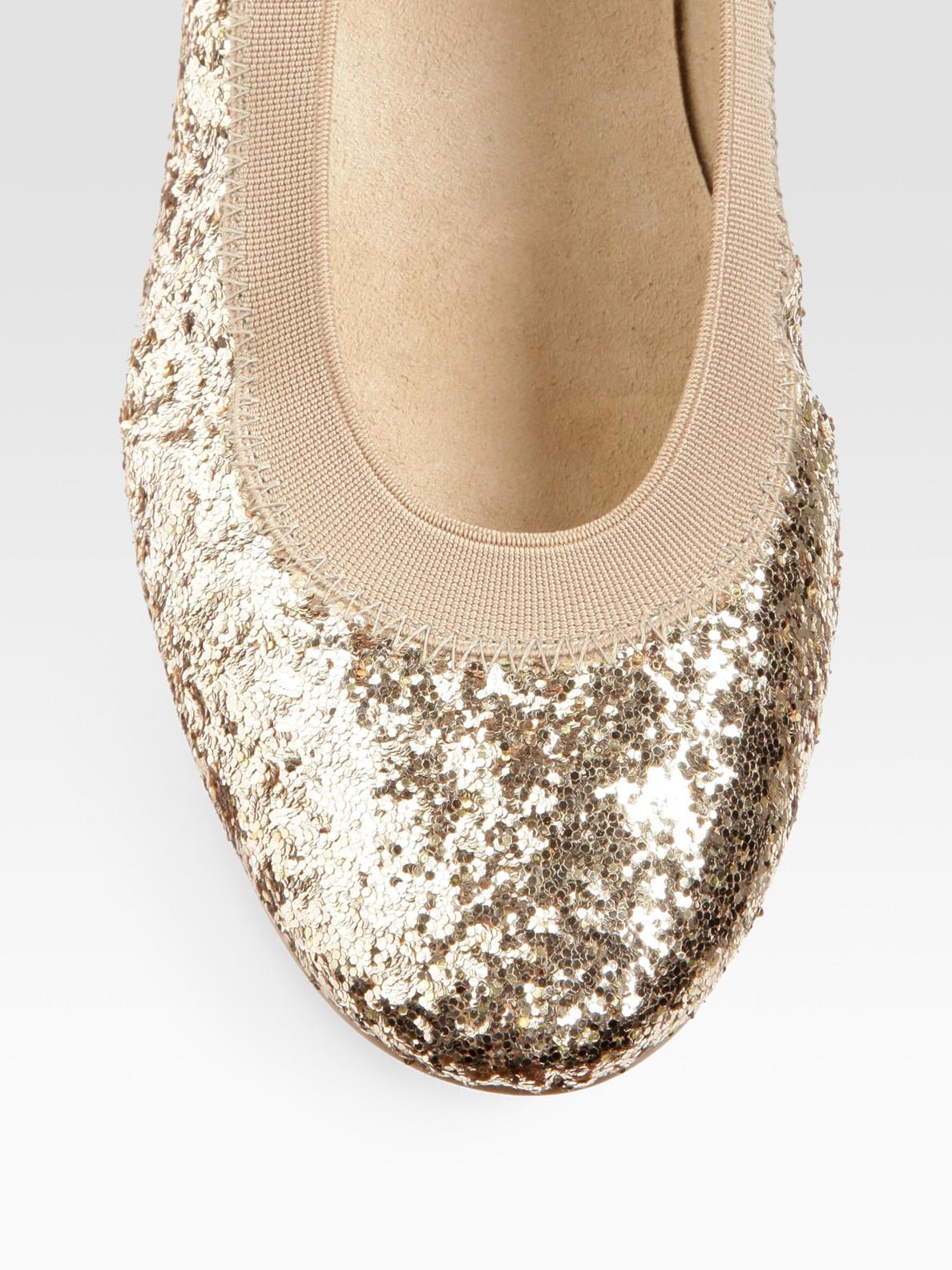 50b8f1cc4d0 Lyst - Stuart Weitzman Lastikon Glitter Ballet Flats in Metallic