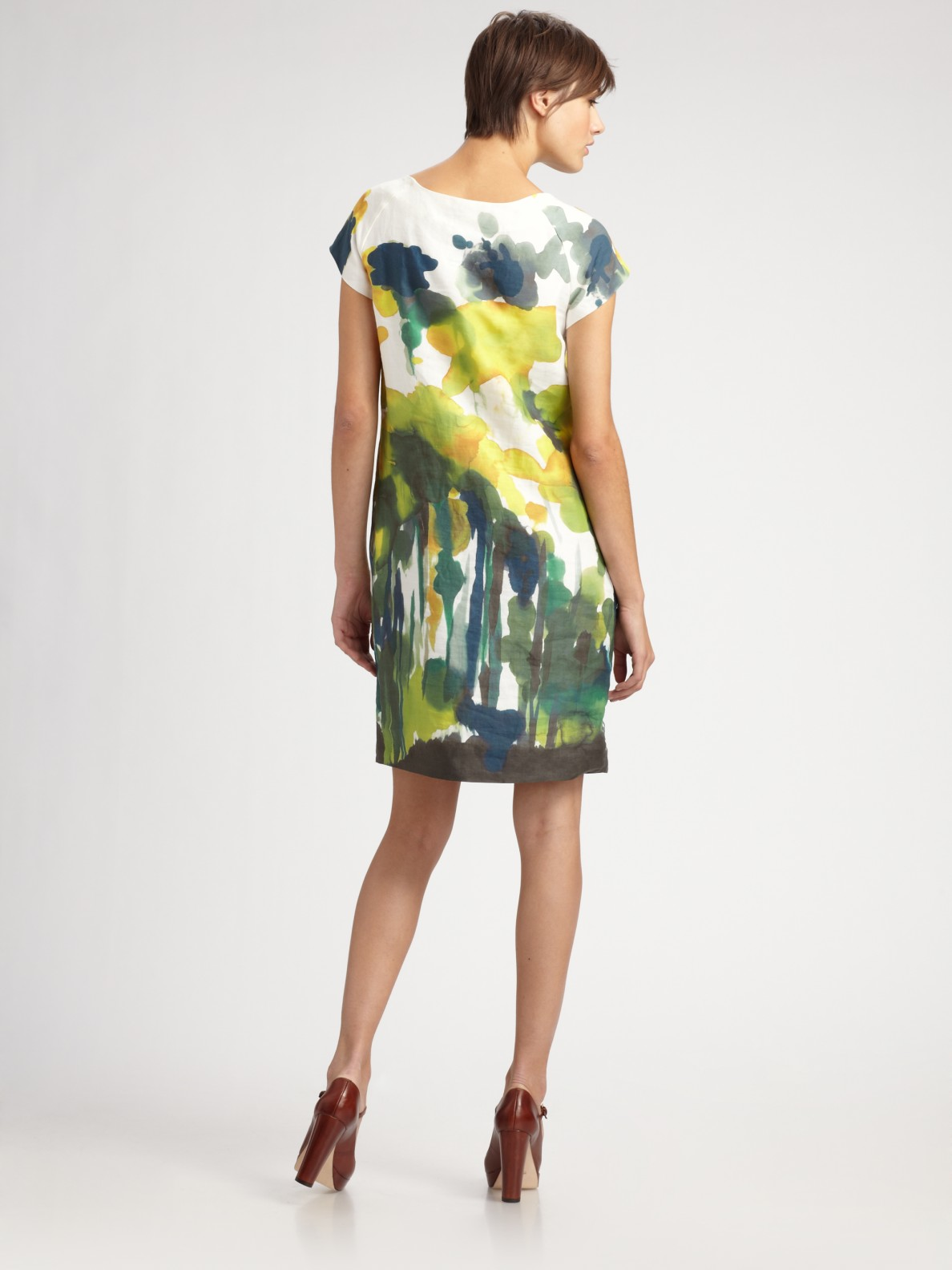 Weekend By Maxmara Watercolor Floral Print Shift Dress In