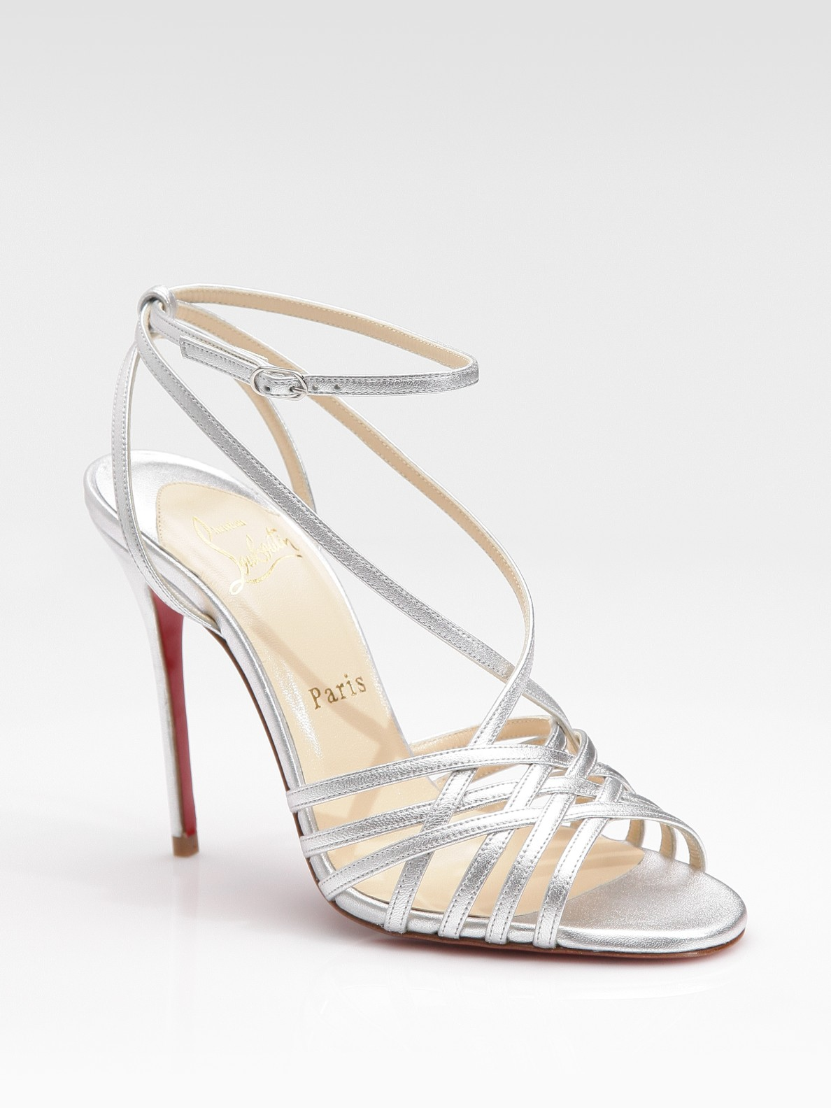 Christian louboutin Beverly Metallic Leather Strappy Sandals in ...