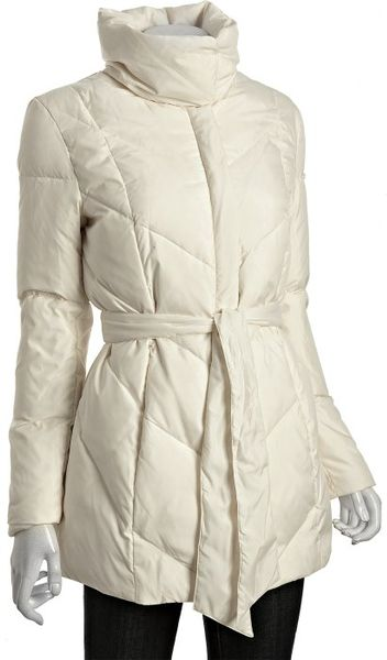 Cole Haan Ivory Quilted Down Filled Belted Coat In White