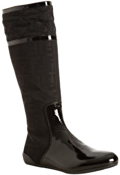 fendi black zucca canvas and patent leather flat boots in