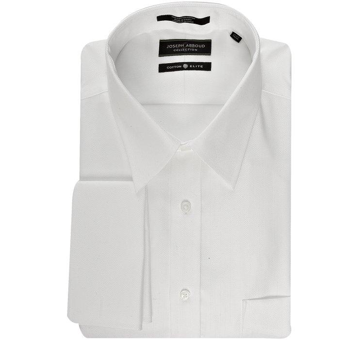 Joseph abboud white cotton herringbone davis french cuff for Joseph abboud dress shirt
