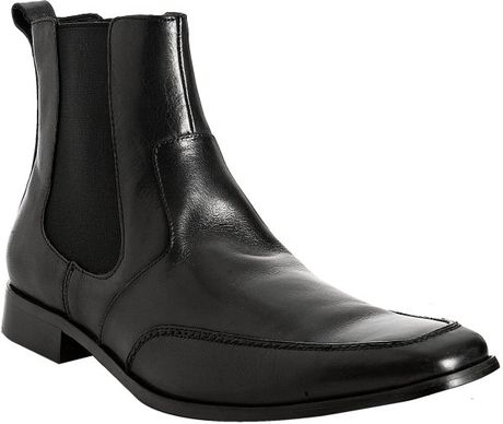 kenneth cole black leather place chelsea boots in