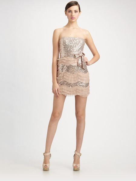 Mark + James By Badgley Mischka Sequined Tulle Ruffle Strapless Dress in Pink (blush)