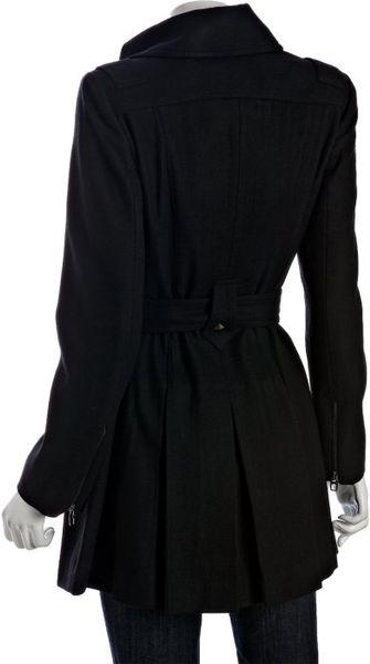 Miss Sixty Black Wool Pleated Stud Detail Coat In Black Lyst