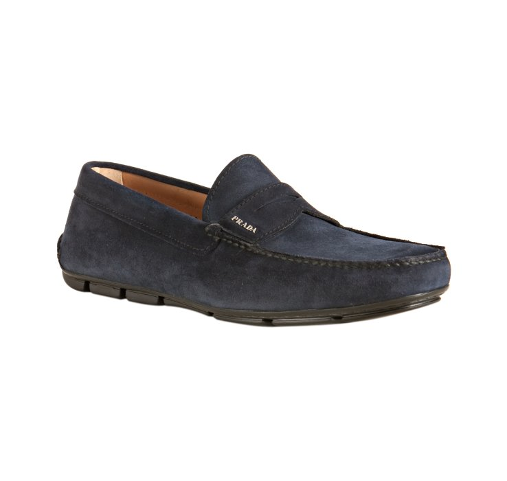 602fa2a30d3 ... coupon for lyst prada dark blue suede driving loafers in blue for men  a472c 578f4