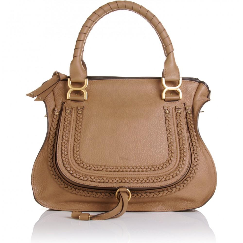 chlo marcie large shoulder bag in brown nut lyst. Black Bedroom Furniture Sets. Home Design Ideas