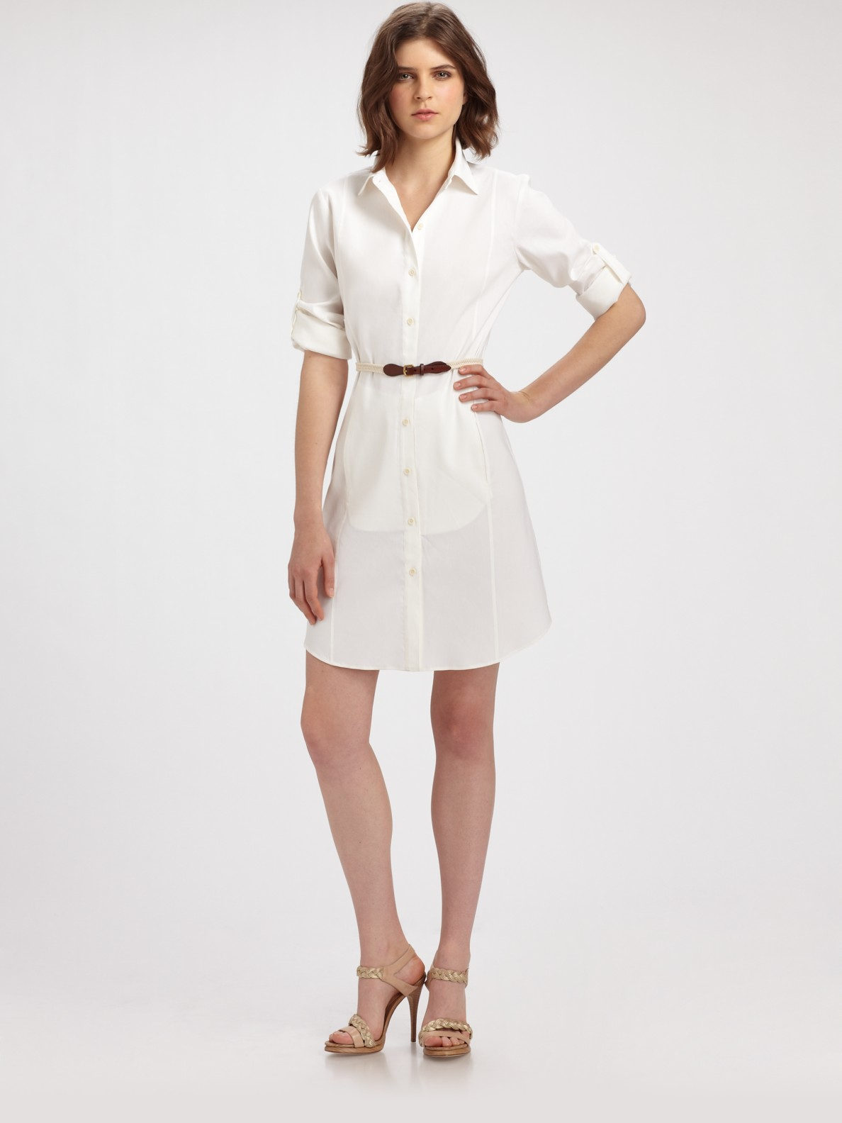 theory lannie button down shirt dress in white lyst