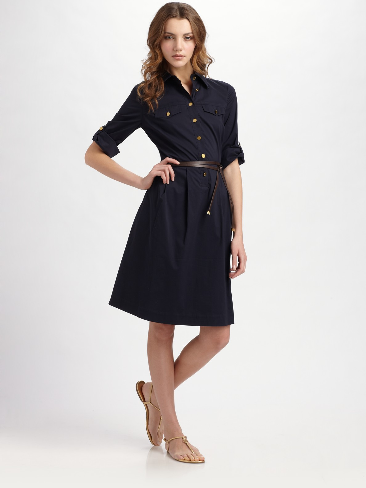 Tory Burch Blythe Stretch Poplin Shirt Dress In Blue Lyst
