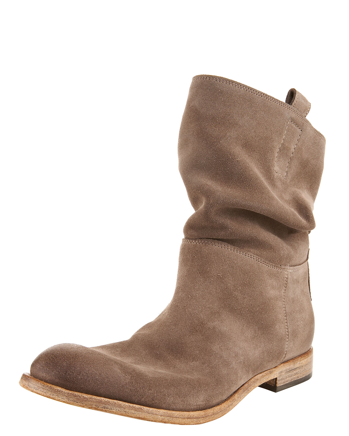 alberto fermani slouchy suede ankle boot in brown lyst