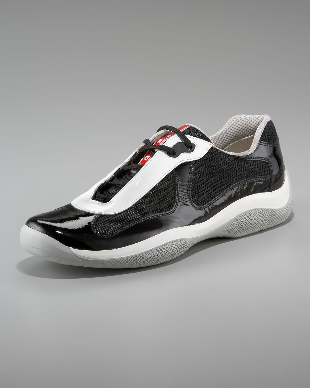 d10fc195dc882 france lyst prada leather high top sneakers in black for men 09787 57a8b   norway prada americas cup sneaker black in black for men lyst a4070 16163