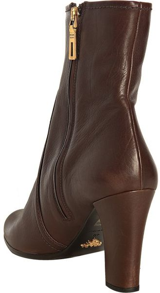 prada chocolate brown leather ankle boots in brown