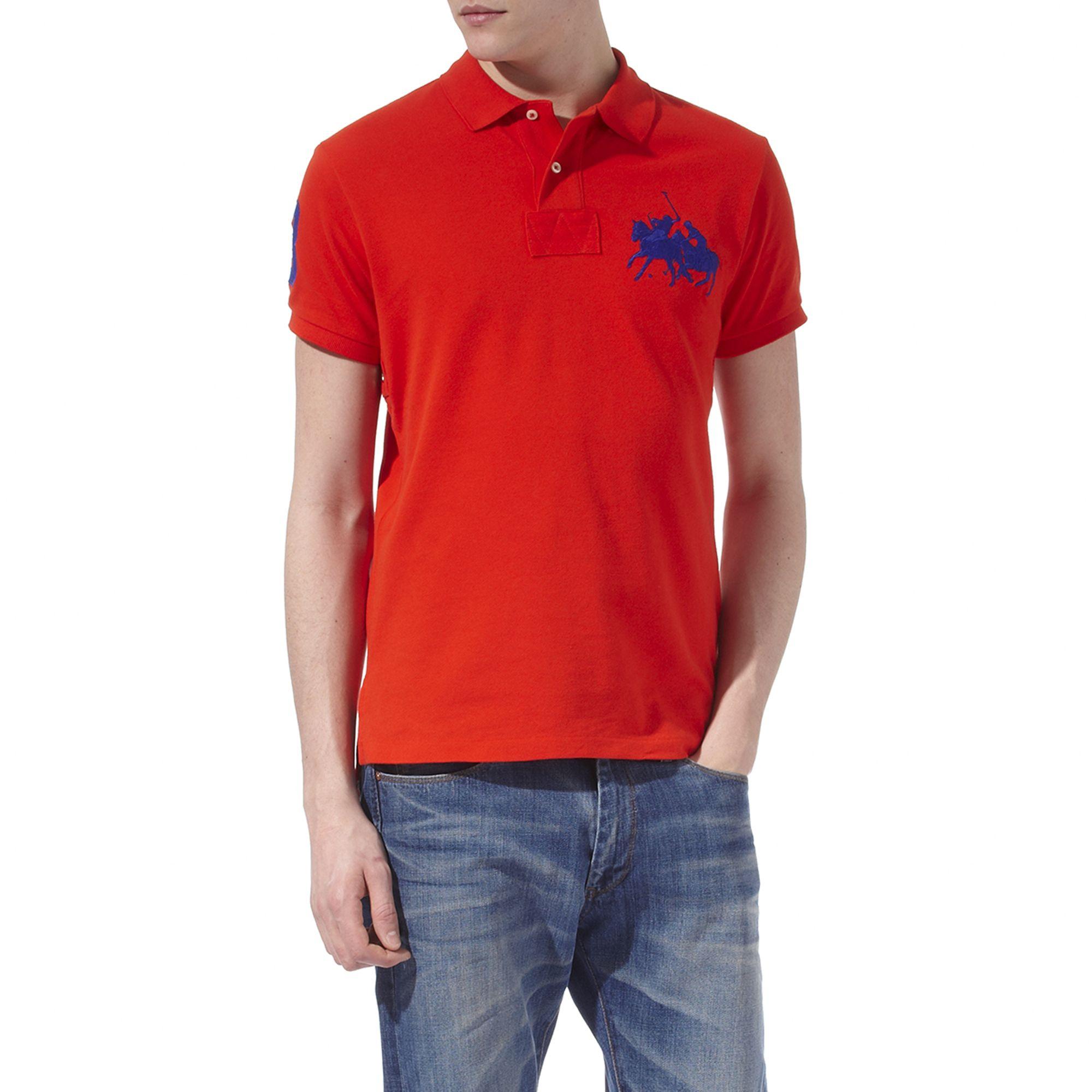 Lyst Ralph Lauren Custom Fit Dual Match Polo Shirt In