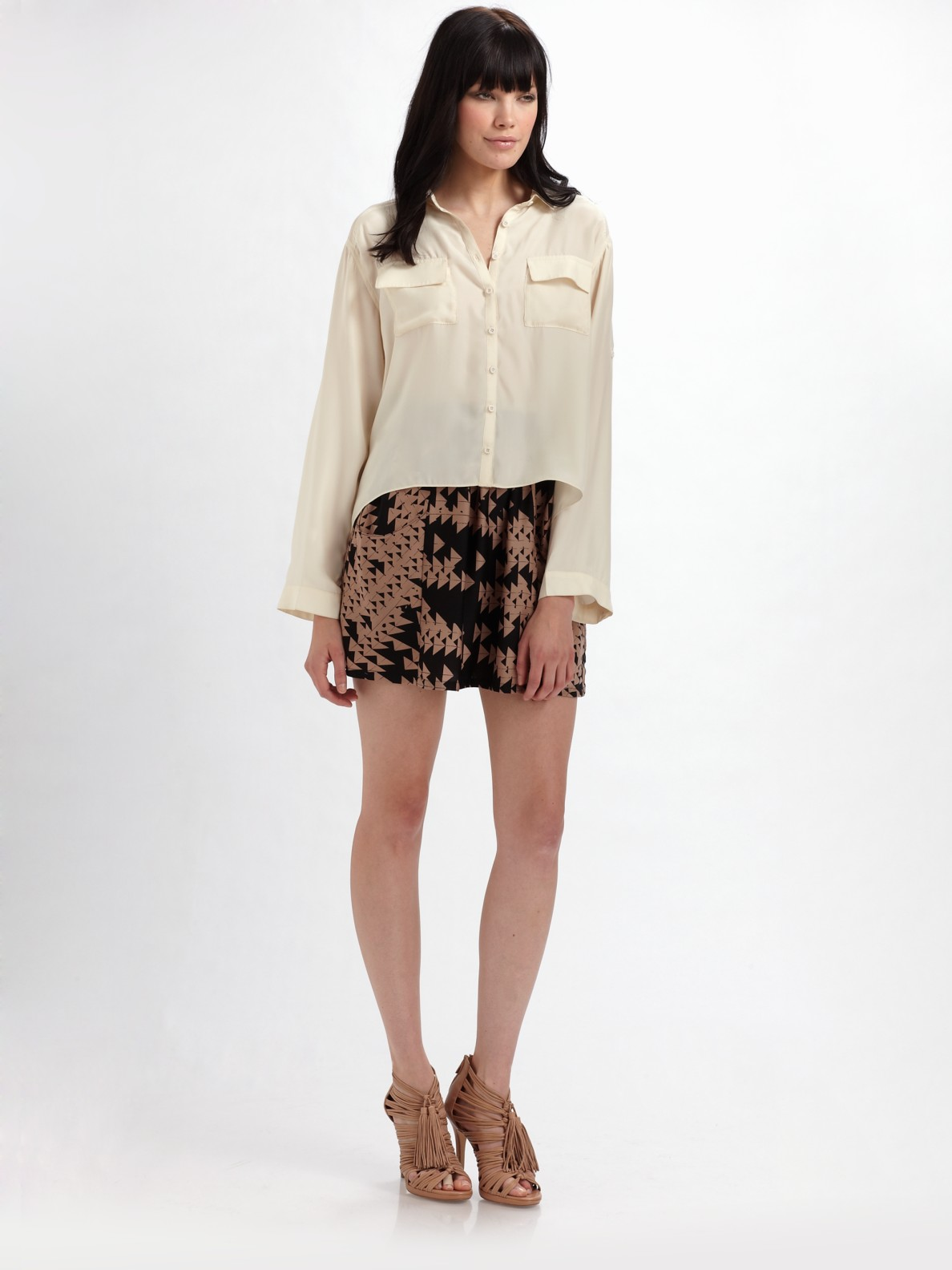 The Addison Story Silk Button Down Shirt In White Ivory