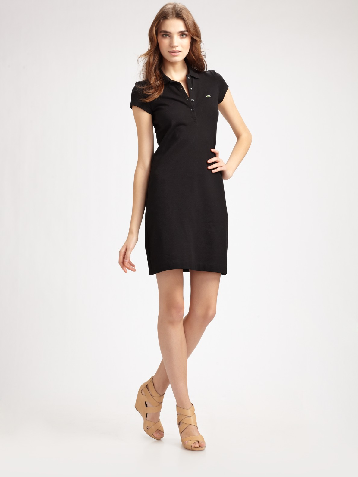 Lyst Lacoste Stretch Cotton Polo Dress In Black