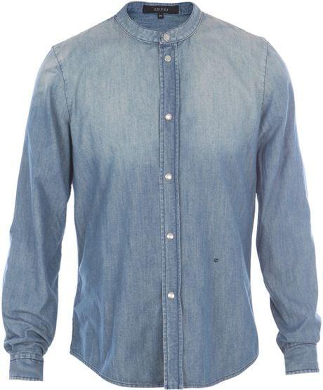 gucci collarless denim shirt in blue for men  denim