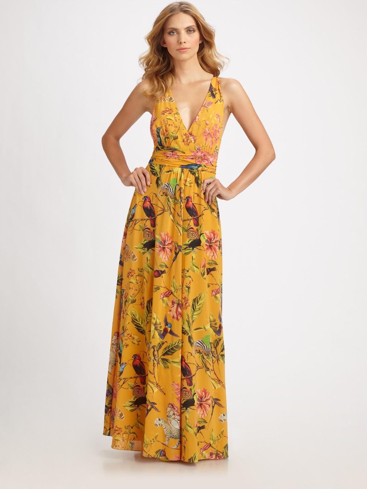 Leifsdottir Long Floral-print Silk Dress in Orange   Lyst