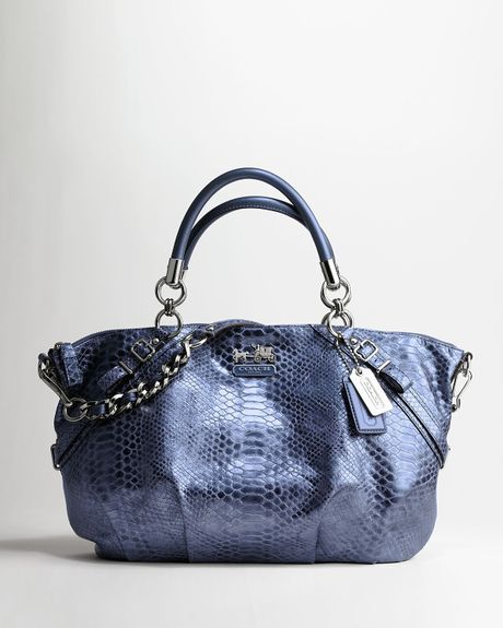Coach Madison Embossed Python Large Sophia Satchel in Blue (Silver ...