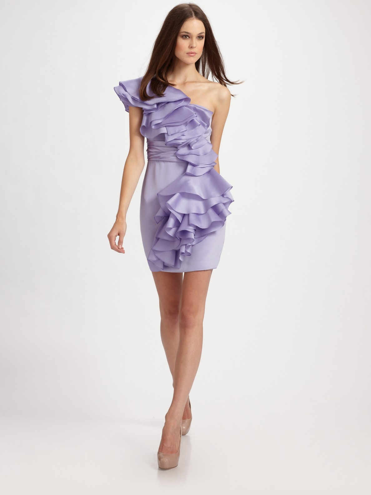 Notte By Marchesa Ruffled One-shoulder Silk Dress