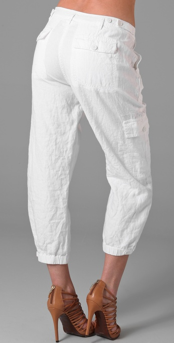 Dkny Pure Dkny Cropped Linen Cargo Pants in White | Lyst