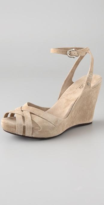 Lyst Ugg Violet Suede Wedge Sandals In Natural